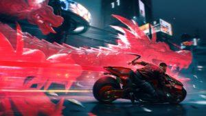 Красные драконы на новом арте игры Cyberpunk 2077